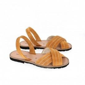 Sandale din piele si catifea AVARCA MINORQUINES Berlin Safron