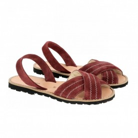 Sandale din piele si catifea MINORQUINES Berlin Marsala