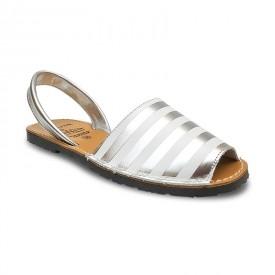 Sandale de dama din piele naturala, METALIC STRIPES Silver