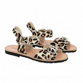 Sandale din piele pony MINORQUINES BUCKLE Leopard