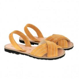 Sandale din piele si catifea MINORQUINES Berlin Safron