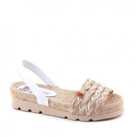 Sandale din yuta naturala si piele REINA White