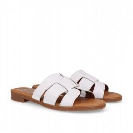 Papuci din piele PLATEA White
