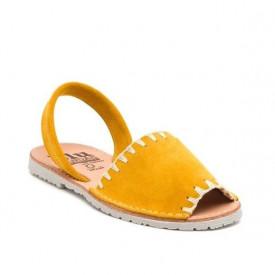 Sandale de dama din piele intoarsa, AVARCA ARTIZAN Yellow