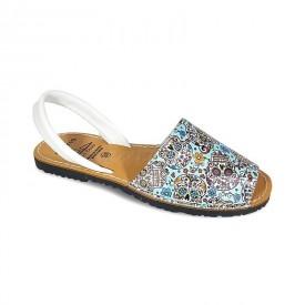 Sandale de dama din piele naturala, AVARCA SKULLS White