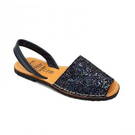 Sandale din piele naturala, AVARCA GLITTER Bleumarin