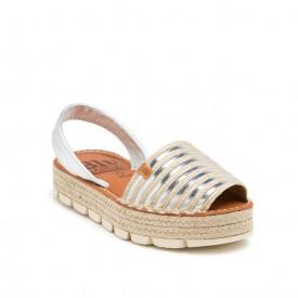 Sandale din piele naturala AVARCA RAFFIA SILVER
