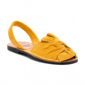 Sandale de dama din piele intoarsa, AVARCA BOW Yellow