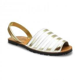 Sandale de dama din piele naturala, METALIC STRIPES Gold