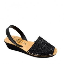 Sandale din piele AVARCA GLITTER WEDGE Black