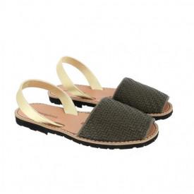 Sandale din piele naturala MINORQUINES Braided Khaki