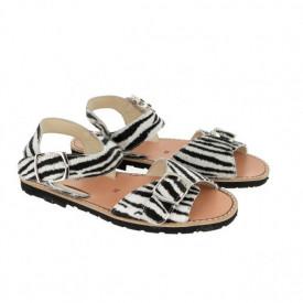 Sandale din piele pony MINORQUINES BUCKLE Zebra