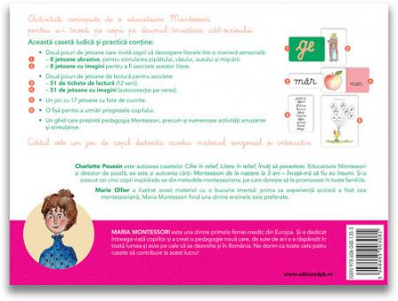Casetele MOntessori. Invat sa citesc cu MOntessori - jetoane cu litere, cuvonte si pentru citit, fise de evaluare, ghid Montessori - verso cutie
