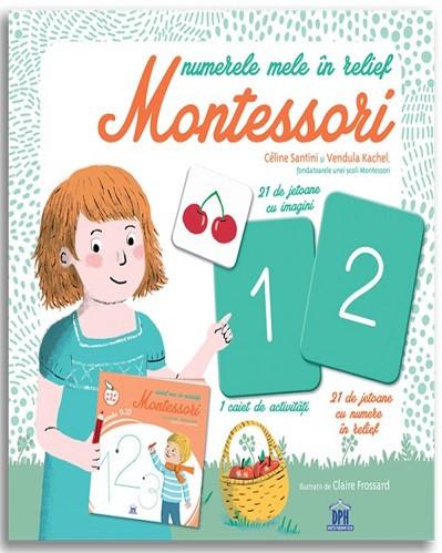 Numerele mele in relief Montessori - caiet de activitati si jetoane pentru invatarea scrierii si citirii numerelor