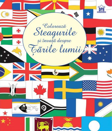 Coloreaza steagurile si invata despre tarile lumii - activitati cu autocolante
