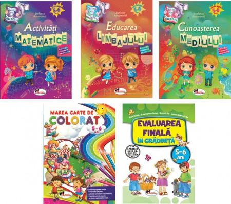 Pachet Activitati de gradinita - 5-6 ani: Activitati matematice; Educarea limbajului; Cunoasterea mediului; Marea carte de colorat 5-6 ani; Evaluarea finala in gradinita 5-6 ani