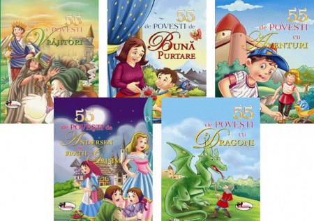 Pachet Povesti pentru toti - 5 carti cu cate 55 de povesti - 55 de povesti cu dragoni, 55 de povesti de buna purtare, 55 de povesti cu vrajitori, 55 de povesti de aventuri, 55 de povesti de Andersen si fratii Grimm