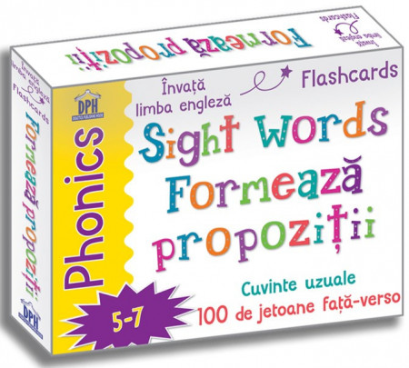 Sight words. Formeaza propozitii in limba engleza - set de 100 de jetoane