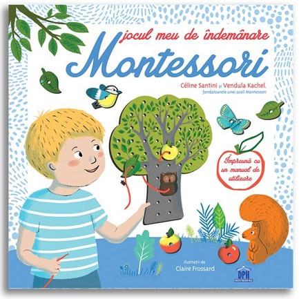 Jocul meu de indemanare Montessori - carte cu activitati, un copac, carduri cu activitati si sireturi