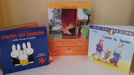 """Pachet promo """"Vacanta la bunici"""" - cartea-puzzle """"Miffy merge la bunici"""", cartea de povesti """"Scrieri pentru copii, de la bunica"""" vol. 3 si """"Prietena mea Conni. Vol. 13 - Conni la bunici""""."""