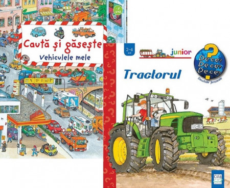 Pachet 2 ani - Tractorul si Vehiculele mele - carti integral cartonate, 2-4 ani