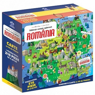 Romania - Calatoreste, Invata, Exploreaza - set puzzle si carte