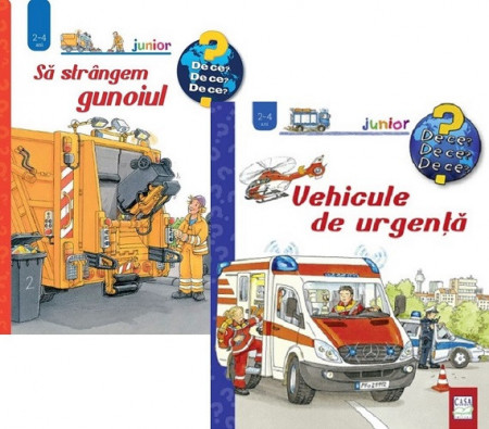 Pachet 2 ani - Vehicule de urgenta si Sa strangem gunoiul - carti integral cartonate, cu ferestre, pentru 2-4 ani