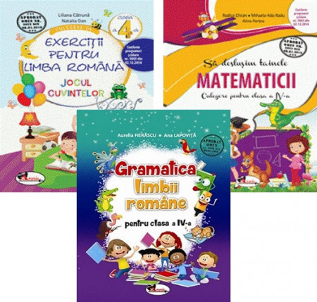 Pachet Invat cu spor clasa a IV-a: Jocul cuvintelor, Sa deslusim tainele matematicii si Gramatica limbii romane