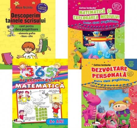 Pachet promo pentru clasa pregatitoare - comunicare, elemente grafice, matematica, dezvoltare personala