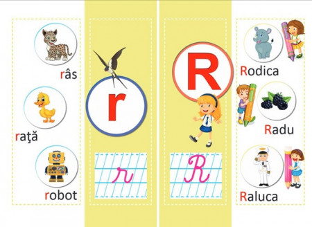 Alfabetul vesel ilustrat  - set de 40 de planse pebtru clasa I - plansa 2