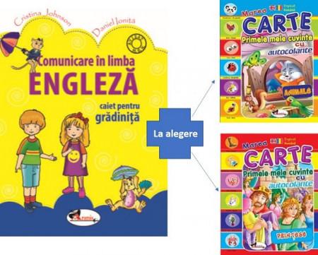 Pachet engleza pentru gradinita - caiet de activitati si carte cu autocolante cu printese sau animale
