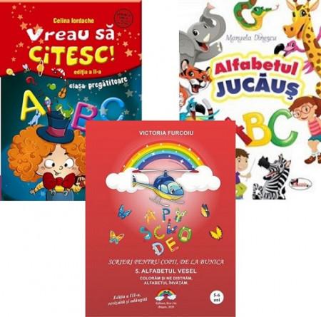 Pachet Invat sa citesc - clasa pregatitoare: Vreau sa citesc, Alfabetul jucaus, Alfabetul vesel