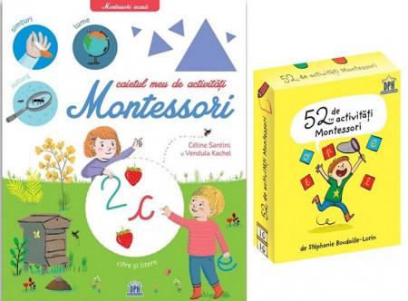 Pachet activitati Montessori - set jetoane 52 de activitati Montessori si Caietul meu de activitati Montessori