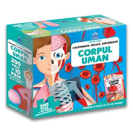 Calatoreste, Invata, Exploreaza. Corpul uman - set puzzle 210 piese si carte - coperta