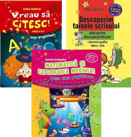 Pachet SMART clasa pregatitoare - 3 caiete cu grafisme, litere, cifre, matematica, scriere, citire