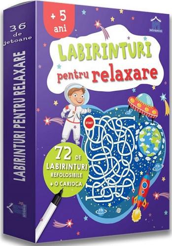 Labirinturi pentru relaxare - 36 de jetoane cu labirinturi, fata-verso, refolosibile, cu o carioca lavabila  - recomandate de la 5 ani - coperta
