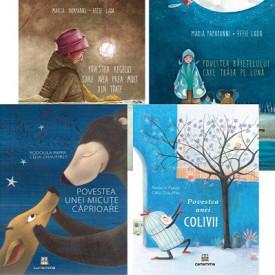 """Pachet promo 4 carti """"Crestem frumos"""": """"Povestea baietelului care traia pe luna"""", """"Povestea regelui care avea prea mult..."""", """"Povestea unei colivii"""", """"Povestea unei micute caprioare"""""""