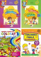 Pachet Activitati gradinita - 3-4 ani: Activitati matematice; Educarea limbajului si Cunoasterea mediului; Marea carte de colorat 3-4 ani; Evaluarea finala in gradinita 3-4 ani