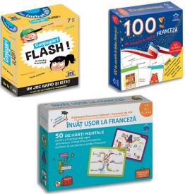 Pachet Franceza clasele pregatitoare, I, a II-a - Invat usor la franceza, 100 de cuvinte in limba franceza, conjugari FLASH in limba franceza