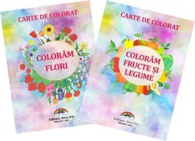 Pachet de colorat 3-5 ani - Coloram flori si Coloram fructe si legume