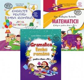 Pachet Invat cu spor - clasa a IV-a: Jocul cuvintelor, Sa deslusim tainele matematicii si Gramatica limbii romane