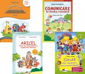 Pachet clasa I: Comunicare in limba romana - culegere, Caiet de lecturi recomandate, Aricel - caiet de matematica, Recapitulare si evaluare - comunicare si matematica