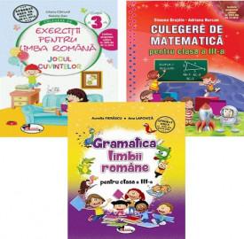 Pachet Invat cu spor - clasa a III-a: Jocul cuvintelor, Culegere de matematica si Gramatica limbii romane