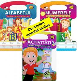 Pachet 3 caiete de activitati, refolosibile - Alfabetul, Numerele, Activitati