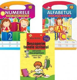 Pachet Invat sa scriu - clasa pregatitoare: Descoperim tainele scrisului, Alfabetul - scriem, stergem, Numerele - scriem, stergem