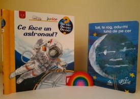 """Pachet promo """"Spatiu"""": """"Ce face un astronaut?"""" si """"Tati, te rog, adu-mi luna de pe cer"""""""