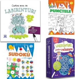 """Pachet SMART - """"Sudoku pentru copii"""", """"Uneste punctele"""", """"Cartea mea cu labirinturi"""", """"Labirinturi pentru relaxare"""""""