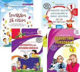 Pachet Invat cu spor - clasa I: Invatam sa citim, Jocul cuvintelor, Sa deslusim tainele matematicii, Dezvoltare personala