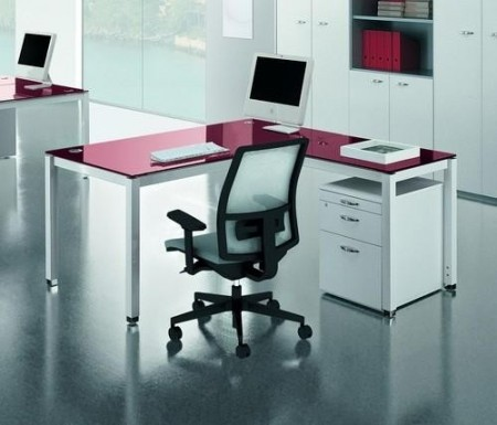 Purple -rain metal stklo radni office desk