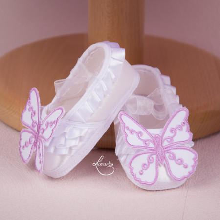 balerini albi cu fluturi lila